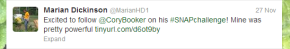 My tweet about Cory Booker