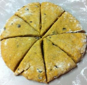 Pumpkin chocolate chip scones ready to bake