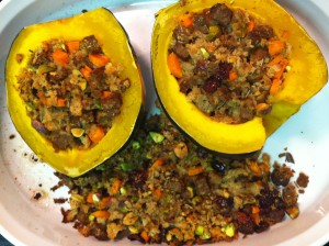 Acorn squash stuffed with a pistachio, cranberry, and faux sausage stuffing