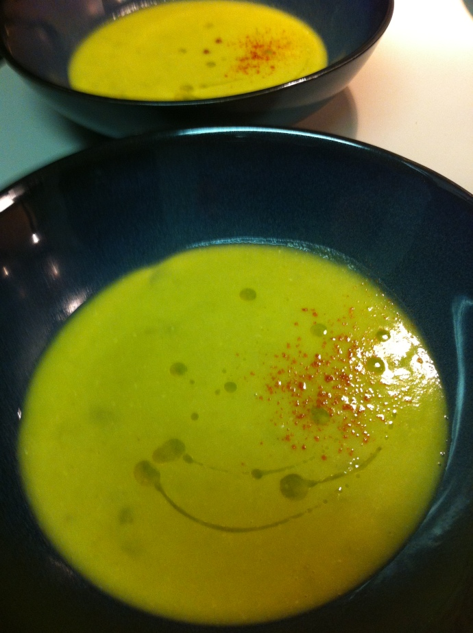 vegetarian split pea soup with smoked paprika and lemon infused olive oil