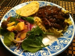 mushroom bourguignon, apple and spinach salad, Kroger three cheese bread, dinner, recipe