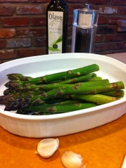Asparagus, olive oil, garlic, salt and pepper