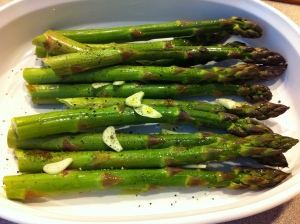 Here's what the asparagus looked like going into the oven