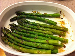 Roasted asparagus fresh from the oven