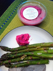 Asparagus with beet hummus