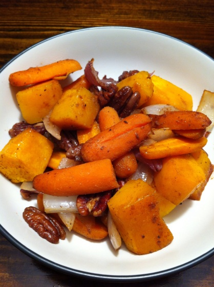 Finished roasted vegetables, butternut squash, carrots, onions, pecans