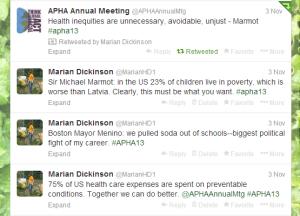 Twitter, APHA, Marmot, Menino, Boston