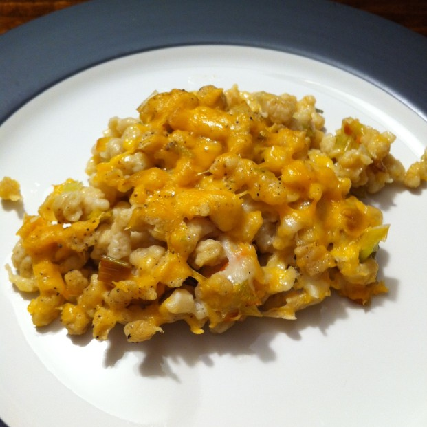 Cheesy spaetzle on the plate