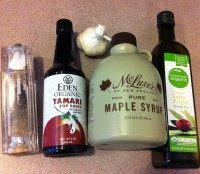 tamari, maple syrup, olive oil, garlic, salt and pepper