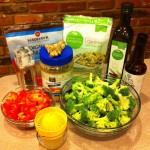 quinoa, olive oil, tamari, broccoli, lime juice, red pepper, peanut butter, ginger, coconut sugar, salt and pepper