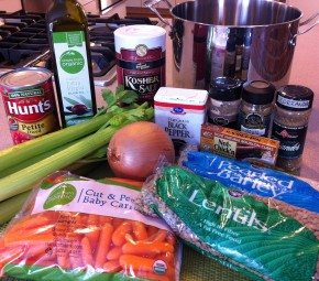 lentils, barley, onion, celery, carrots, tomatoes, olive oil, kosher salt, coriander, cumin, ginger, black pepper