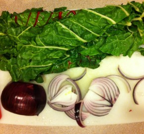 rainbow chard, red onion, cutting board