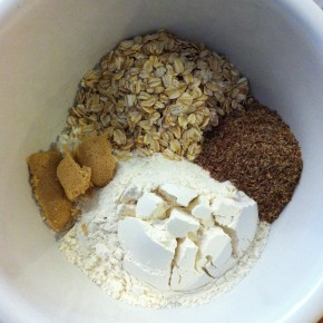 oatmeal, flour, ground flax, brown sugar