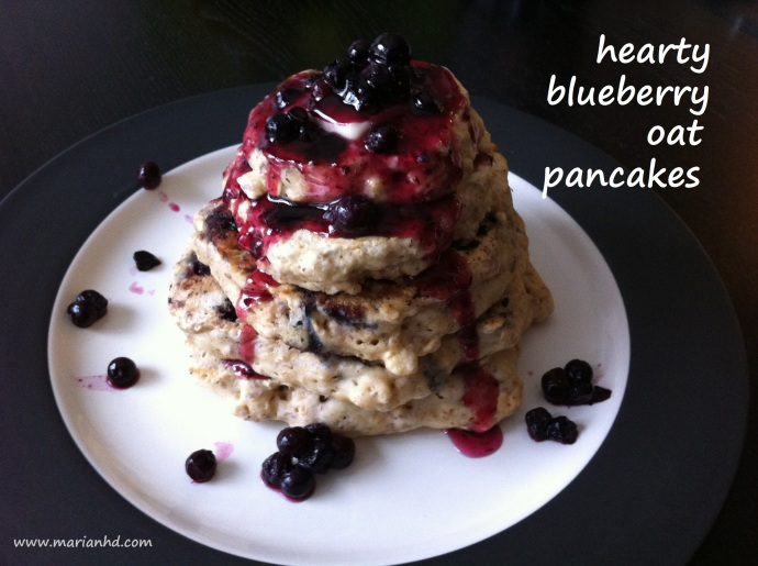 Hearty blueberry oat pancakes