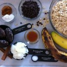 ingredients for banana bread muffins, bananas, oatmeal, dates