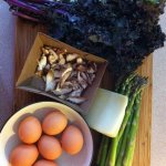 For the Love of Food, marianhd.com, brown eggs, mushrooms, kale, asparagus, fontina cheese