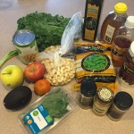 ingredients, salad, edamama, chickpeas, kale, cashews, for the love of food, recipe, healthy