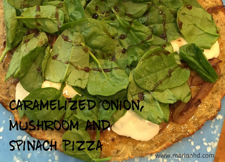 Caramelized Onion, Mushroom and Spinach Pizza