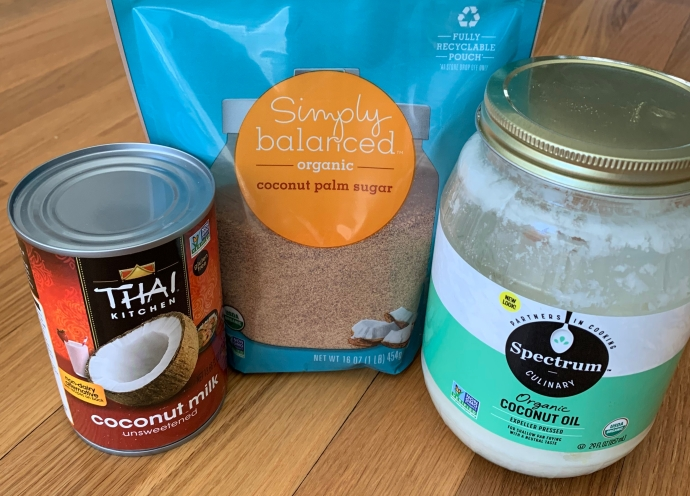 coconut milk, coconut sugar, coconut oil